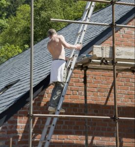Man working on a new roof in Kidderminster worcestershire